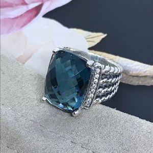 🌼DAVID YURMAN S Silver Blue Topaz Diamond Wheaton